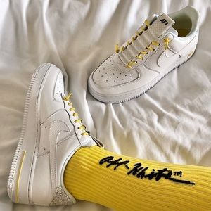 Reflective Nike Air Force white and yellow